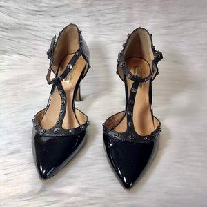 Halogen Martine Pumps Black Leather Size 7 M